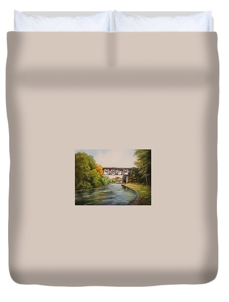 Railroad Bridge Over Erie Canal Duvet Cover