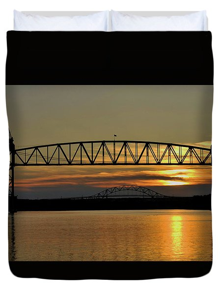 Railroad Bridge Over The Canal Duvet Cover