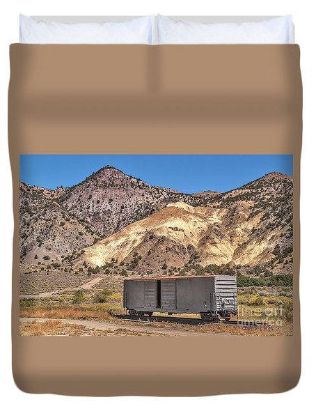 Duvet Cover featuring the photograph Railroad Car In A Beautiful Setting by Sue Smith