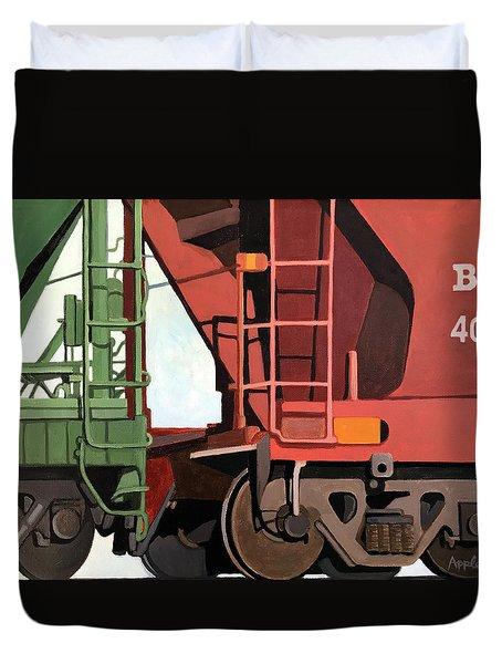 Railroad Cars - Realistic Train Oil Painting Duvet Cover