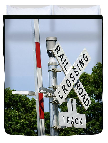 Railroad Crossing Duvet Cover