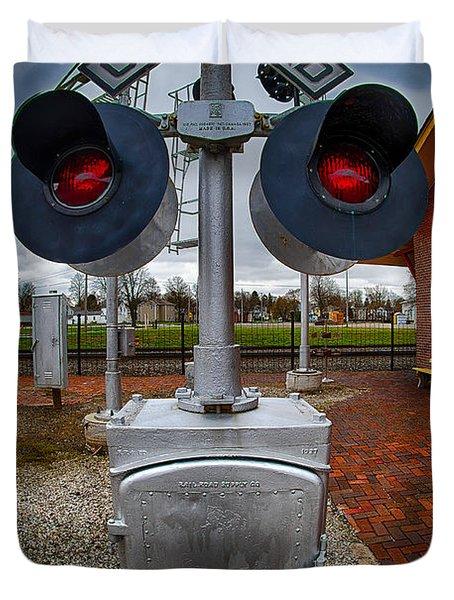 Railroad Crossing Signal Duvet Cover