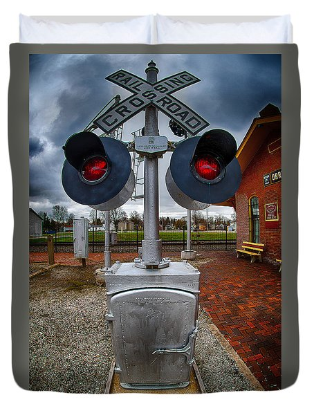 Railroad Crossing Signal Duvet Cover