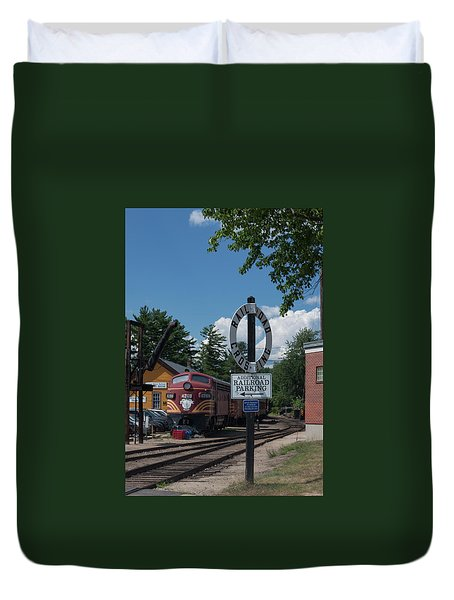 Railroad Crossing Duvet Cover by Suzanne Gaff