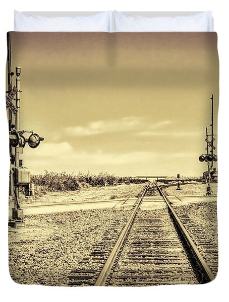 Railroad Crossing Textured Duvet Cover