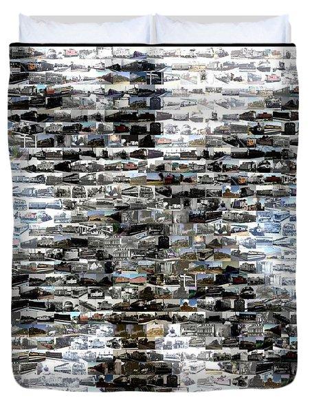 Duvet Cover featuring the mixed media Railroad Crossing Trains Mosaic by Paul Van Scott