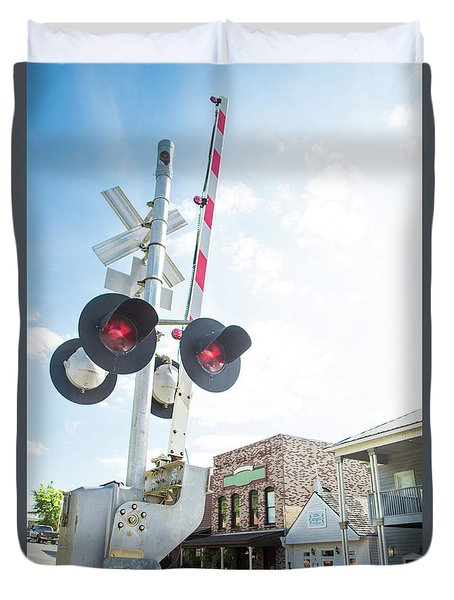 Duvet Cover featuring the photograph Railroad Lights In Old Town Helena by Parker Cunningham