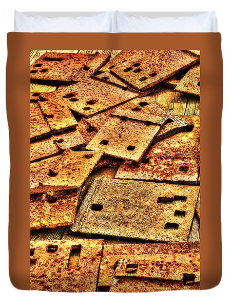 Duvet Cover featuring the photograph Railroad Tie Plates Abstract by Gary Slawsky