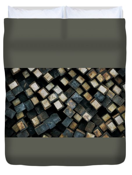 Railroad Ties Stacked Duvet Cover
