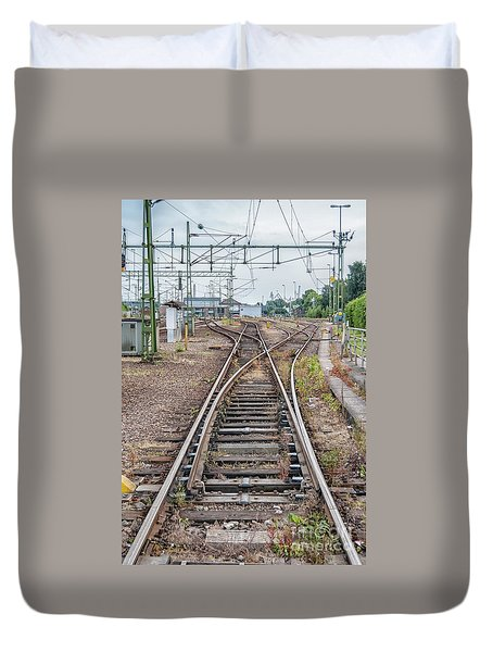 Duvet Cover featuring the photograph Railroad Tracks And Junctions by Antony McAulay