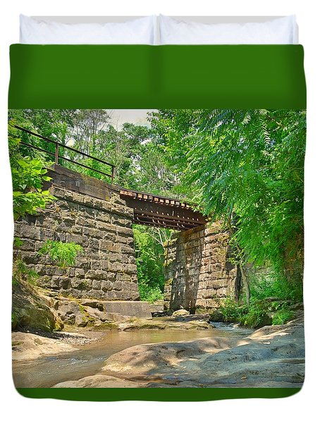 Railroad Tracks At Buttermilk/homewood Falls Duvet Cover