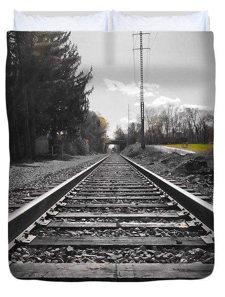 Railroad Tracks Bw Duvet Cover