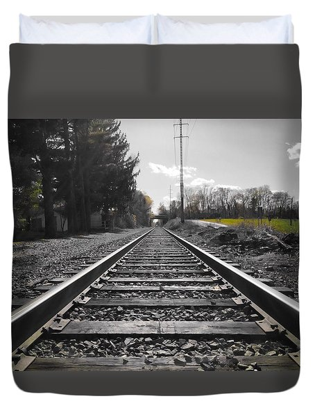 Railroad Tracks Bw Duvet Cover