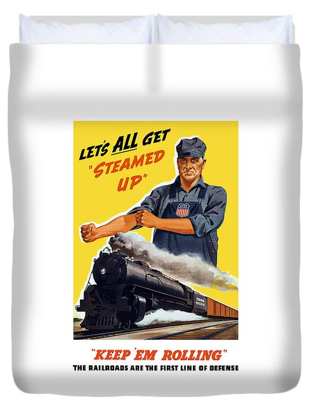 Railroads Are The First Line Of Defense Duvet Cover by War Is Hell Store