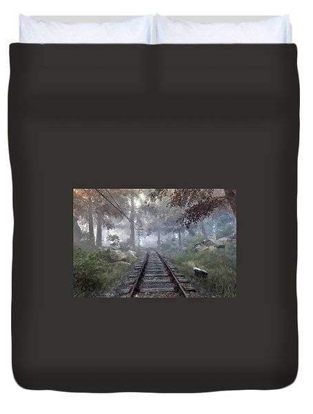 Rails To A Forgotten Place Duvet Cover by Kai Saarto