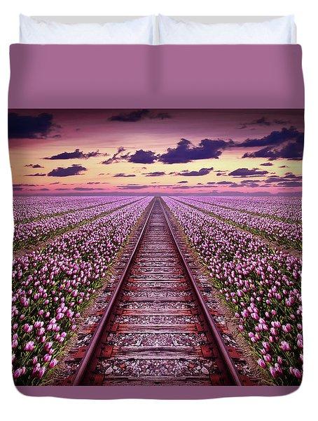 Railway In A Purple Tulip Field Duvet Cover