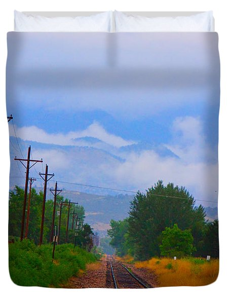 Railway Into The Clouds Vertical Duvet Cover
