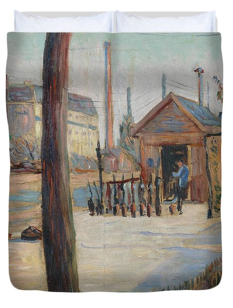 Railway Junction Near Bois-colombes  Duvet Cover