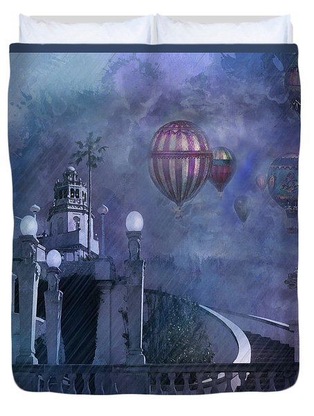 Rain And Balloons At Hearst Castle Duvet Cover