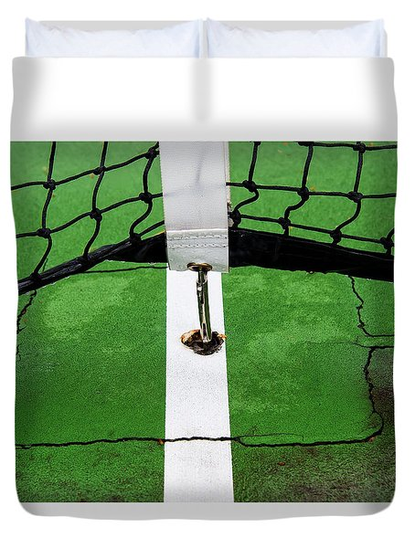 Duvet Cover featuring the photograph Rain And Tension At Center Court by Gary Slawsky