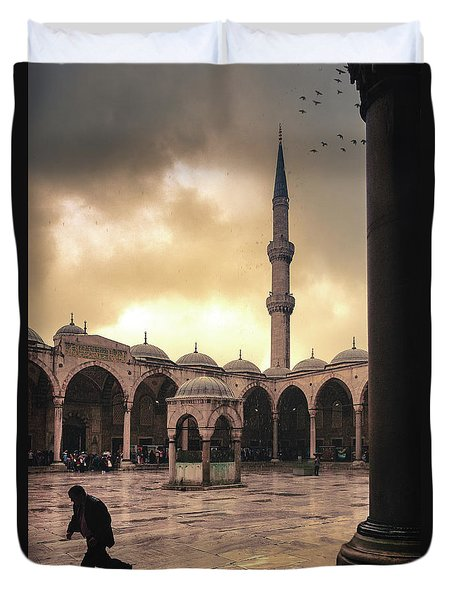 Rain At The Blue Mosque Duvet Cover by Marji Lang
