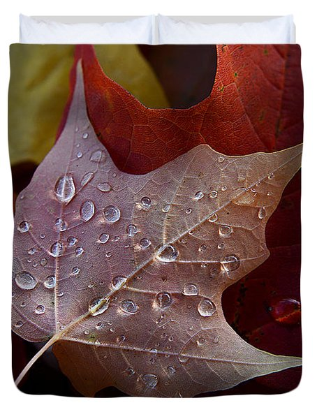 Rain Droplets On Leaf Duvet Cover
