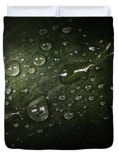 Rain Drops On Leaf Duvet Cover