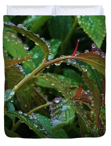 Rain Drops On Spirea Duvet Cover by J L Zarek