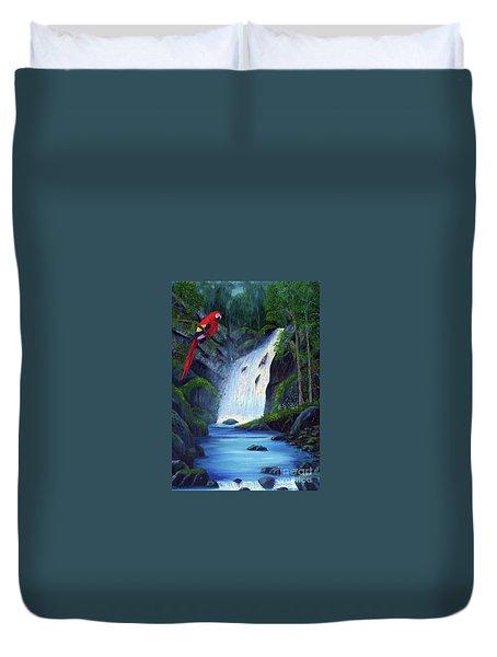 Rain Forest Macaws Duvet Cover