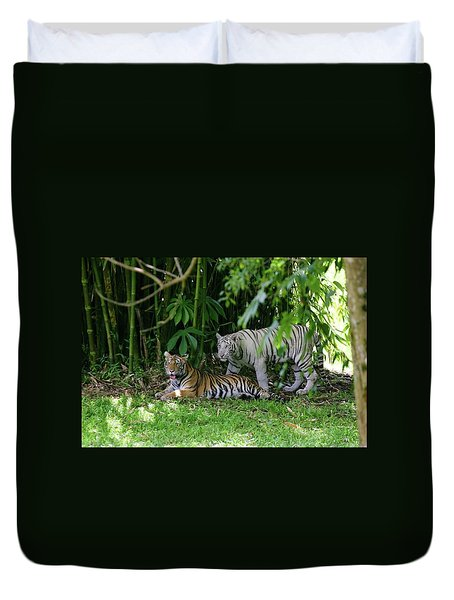 Rain Forest Tigers Duvet Cover