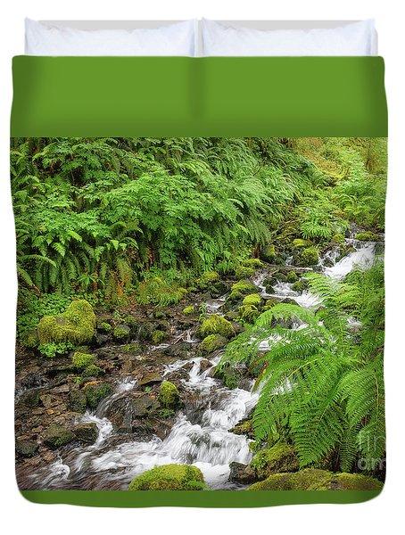 Rain Forest Waterfall Duvet Cover
