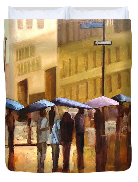 Rain In Manhattan Number Seventeen Duvet Cover