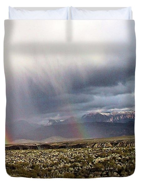 Duvet Cover featuring the painting Rain In The Desert by Dennis Ciscel