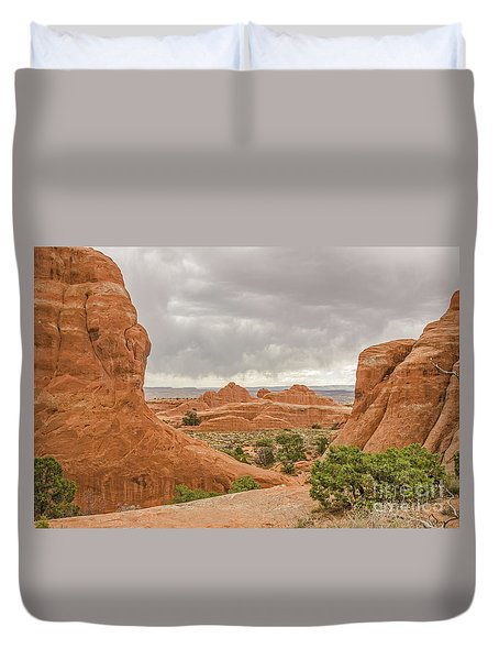 Duvet Cover featuring the photograph Rain In The Distance At Arches by Sue Smith