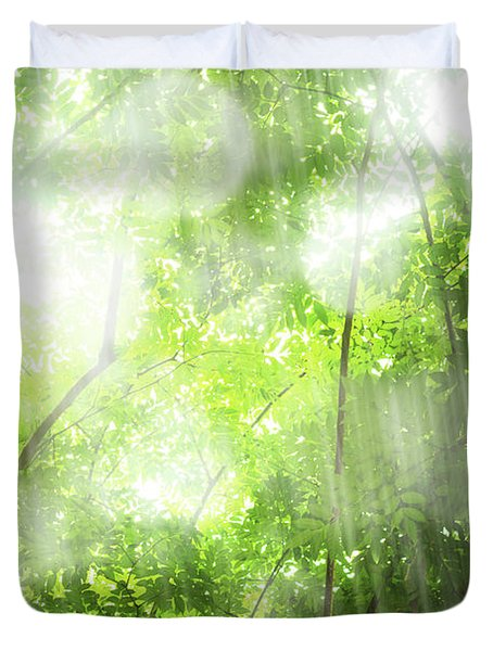 Rain In Tropical Forest Duvet Cover