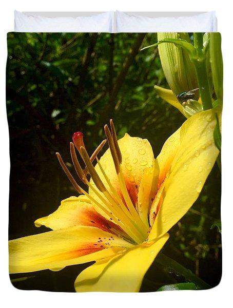 Rain Kissed Tiger Lily Duvet Cover