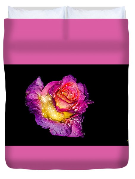 Rain-melted Rose Duvet Cover by Rikk Flohr