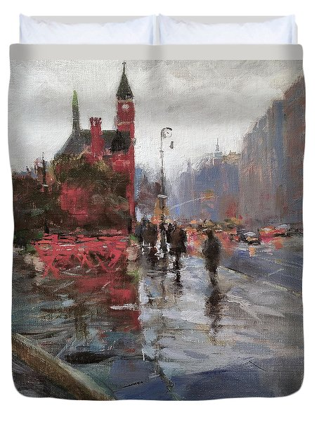 Rain On Sixth Avenue Duvet Cover by Peter Salwen