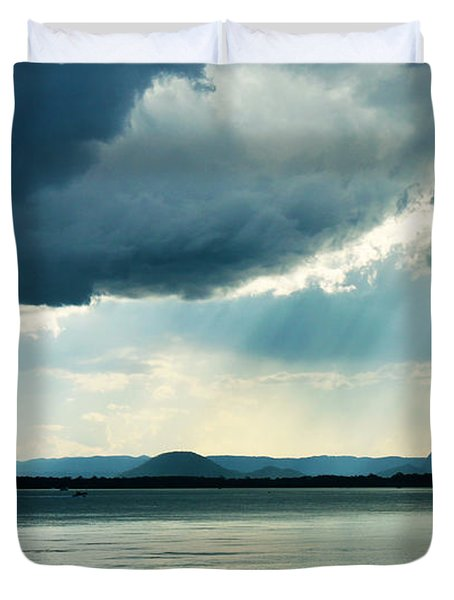 Rain On The Glass Mountains Duvet Cover