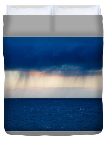 Duvet Cover featuring the photograph Rain On The Horizon At Strumble Head by Ian Middleton