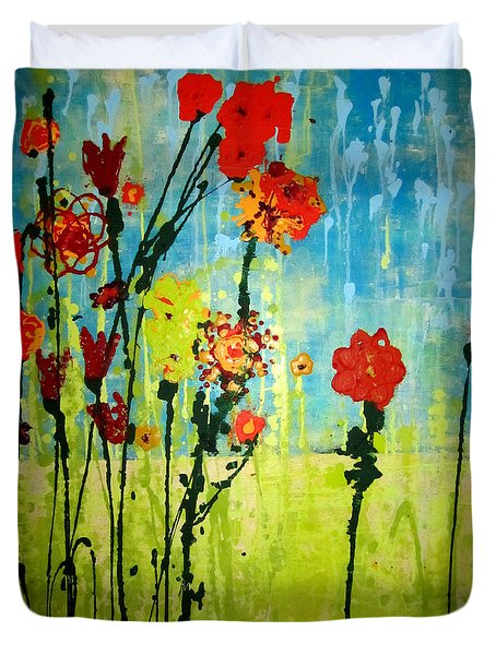 Duvet Cover featuring the painting Rain Or Shine by Ashley Price