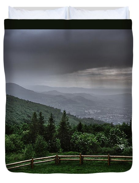 Duvet Cover featuring the photograph Rain Over The Silesian Beskids by Dmytro Korol