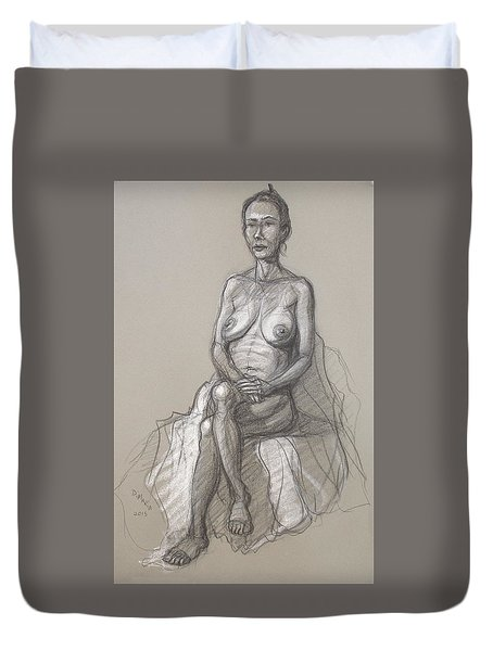 Duvet Cover featuring the drawing Rain Seated #2 by Donelli  DiMaria