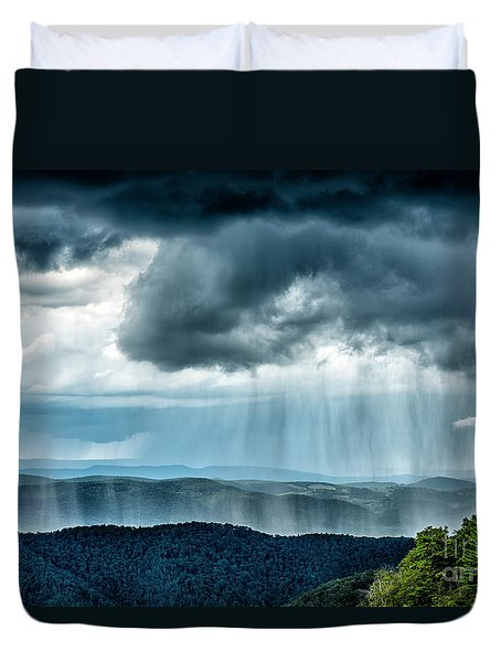 Duvet Cover featuring the photograph Rain Shower Staunton Parkersburg Turnpike by Thomas R Fletcher