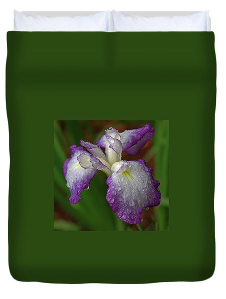 Rain-soaked Iris Duvet Cover by Marie Hicks