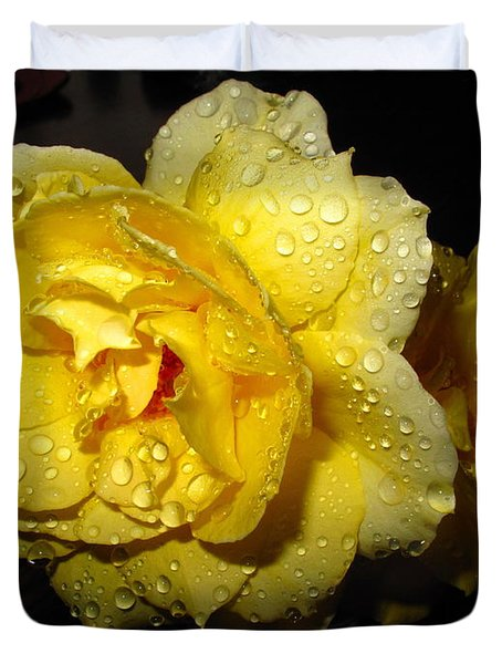 Duvet Cover featuring the photograph Rain Soaked Yellow Rose by Joyce Dickens