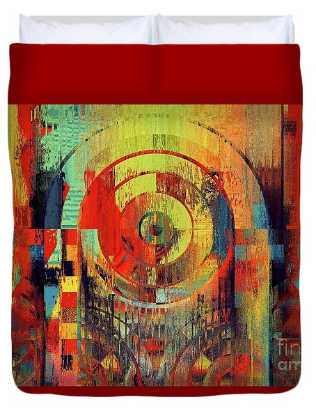 Duvet Cover featuring the digital art Rainbolo - 01t01ii by Variance Collections