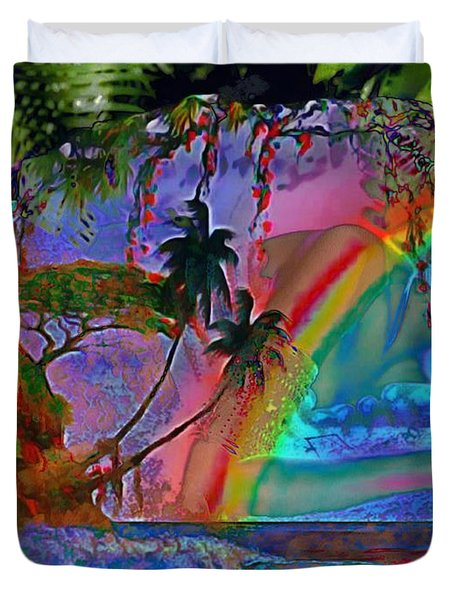 Rainboow Drenched In Layers Duvet Cover