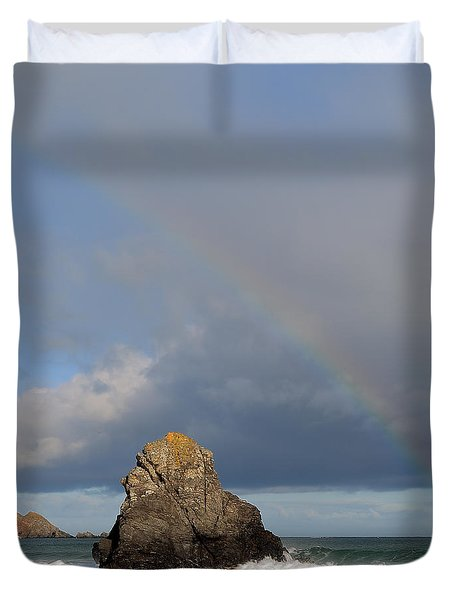 Rainbow Above Sango Bay Sea Stack Duvet Cover