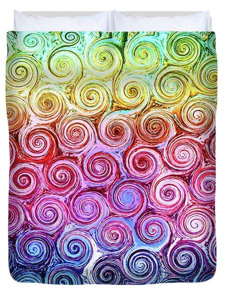Rainbow Abstract Swirls Duvet Cover